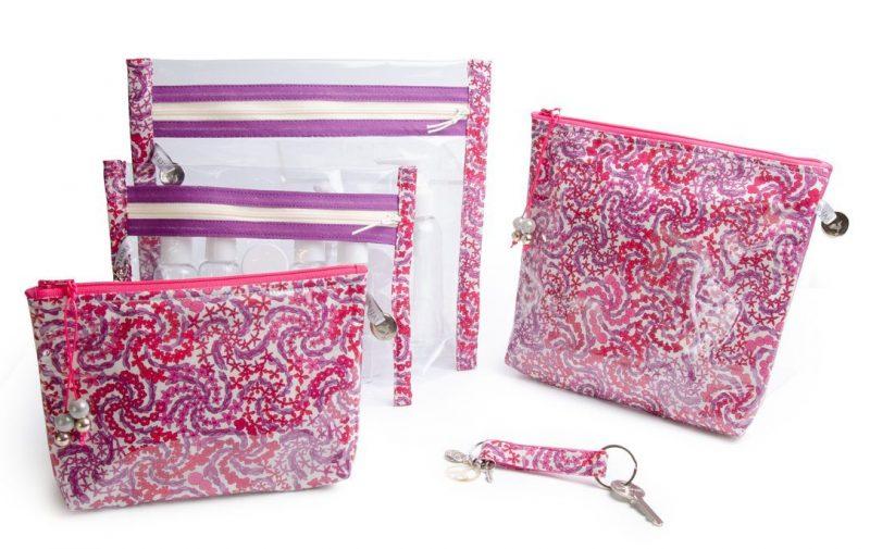 collection-pochette-trousse-plastifiée-transparente- doublée-tissu Liberty-artisanat-fait main-fabrication française-mayfair-rose