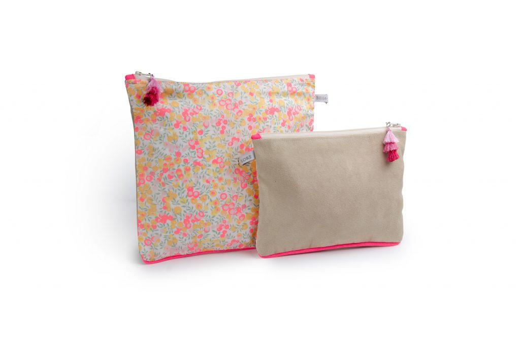 pochette-tissu suedine- doublée- Liberty-artisanat-fait main-fabrication française-notting hill-wiltshire lemon curd