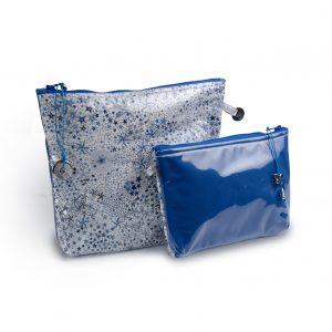 pochette-plastifiée- doublée- tissu Liberty-artisanat-fait main-fabrication française-bleu étoile Chelsea