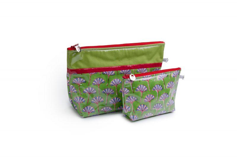 Trousse de toilette-pochettes-poche interieure-plastifiée-doublée-Batik-tissu indien-artisanat-fait main-fabrication française-vert et rouge-Andhra Pradesh