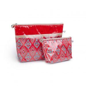 Trousse de toilette-pochettes-poche interieure-plastifiée-doublée-Batik-tissu indien-artisanat-fait main-fabrication française-rouge-Delhi