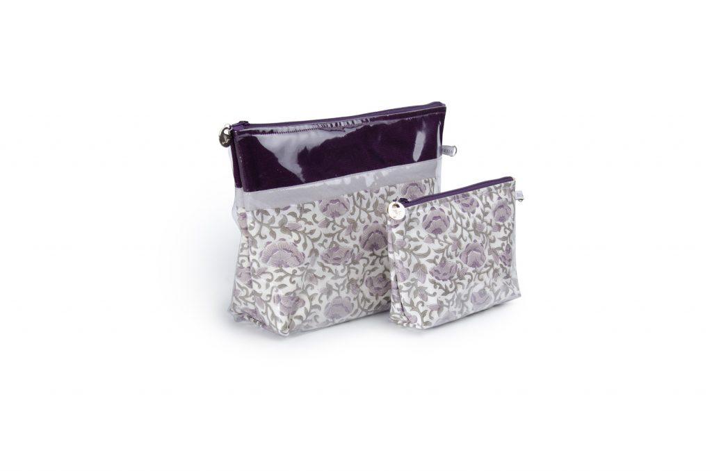 Trousse de toilette-pochettes-poche interieure-plastifiée-doublée-Batik-tissu indien-artisanat-fait main-fabrication française-violet-Pondichéry
