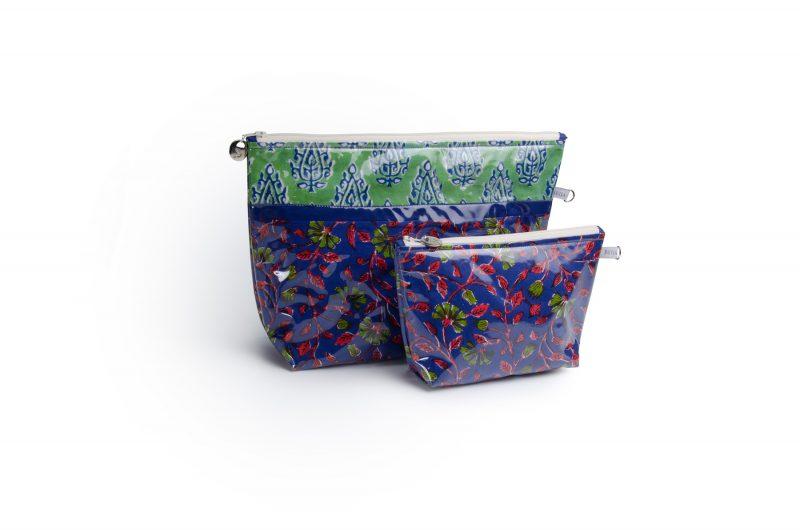 Trousse de toilette-pochettes-poche interieure-plastifiée-doublée-Batik-tissu indien-artisanat-fait main-fabrication française-violet et vert-Bengale