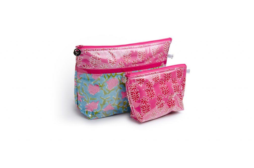 Trousse de toilette-pochettes-poche interieure-plastifiée-doublée-Batik-tissu indien-artisanat-fait main-fabrication française-rose et bleu-Taj Mahal