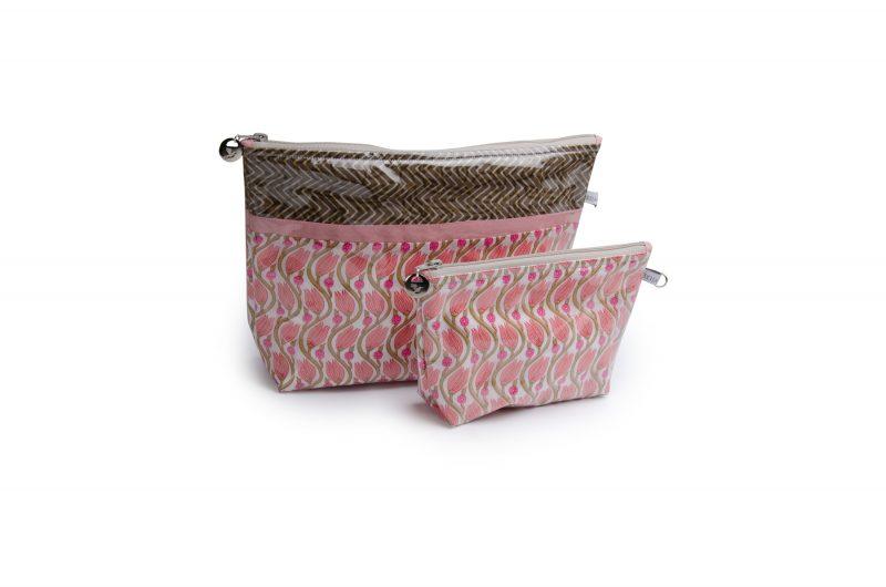 Trousse de toilette-pochettes-poche interieure-plastifiée-doublée-Batik-tissu indien-artisanat-fait main-fabrication française-rose-Rajasthan
