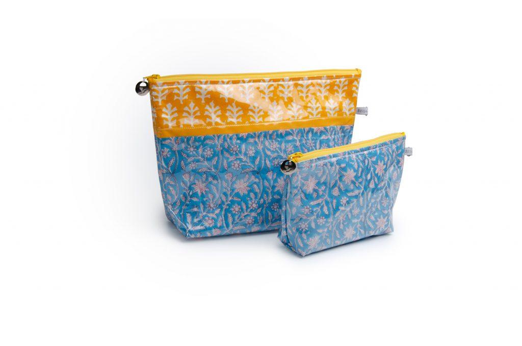 Trousse de toilette-pochettes-poche interieure-plastifiée-doublée-Batik-tissu indien-artisanat-fait main-fabrication française-Jaipur-bleu et jaune