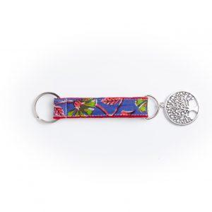porte clés-breloque- doublée-Batik-tissu indien-artisanat-fait main-arbre de vie-fabrication française- Bengale