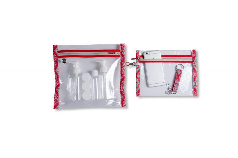 collection-pochettes-trousse-plastifiée-transparente-Batik-tissu indien-artisanat-fait main-fabrication française-Delhi-imperméable-plage