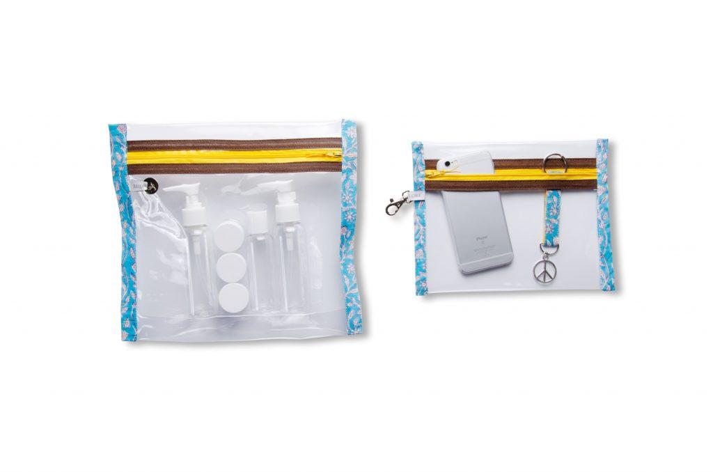 pochettes-plastifiée-transparente-Batik-tissu indien-artisanat-fait main-fabrication française-Jaipur-imperméable-plage